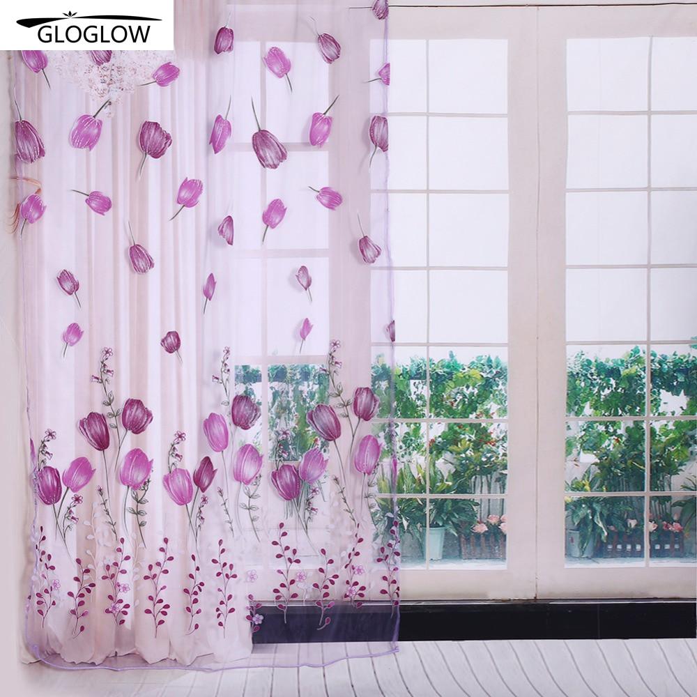 Print Door Curtains 5 Colors Window Curtain Fabric
