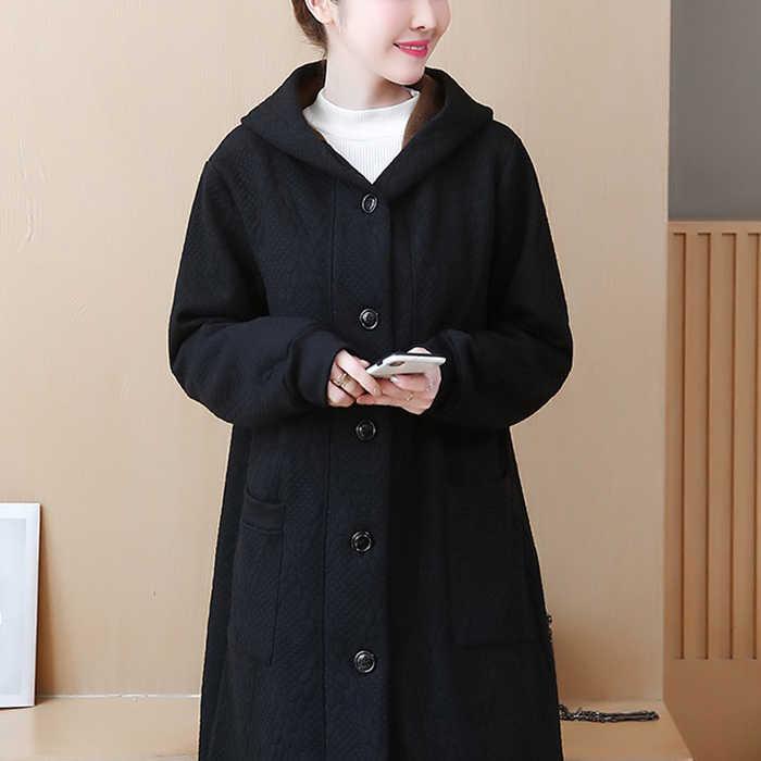 Новый Европейский хлопок пальто зима большой размер 5XL длинный отрезок плюс бархат толстый свободный жакет Модный Дикий Повседневный свитер женский