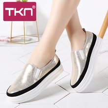 TKN 2019 Autumn Women Flats Shoes Ladies  Platform Slip on Shoes Leather Thick Soled Tenis Feminino Sneakers Creeper Woman 8835