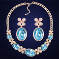 100% Original Crystal From Swarovski Oval Pendant Necklace Earrings Wedding Jewelry Set For Women Gift High quality