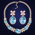 100% Original cristal de Swarovski Oval colgante collar pendientes joyería de la boda para para regalo de la alta calidad