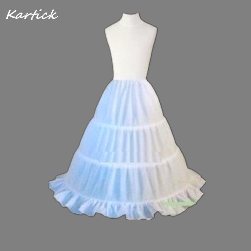 Brand New Petticoats White A-Line 3 Hoops Free Children Crinoline for Flower Girl Dress Wedding Little Girls/Kids Underskirt