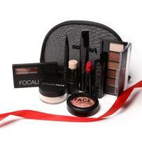 FOCALLURE 8Pcs Cosmetics Makeup Set Powder Eye Makeup Eyebrow Pencil Volume Mascara Sexy Lipstick Blusher