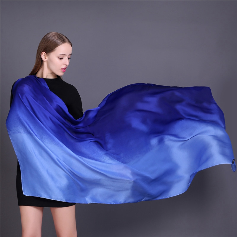 LARRIVED Luxury Brand Women Silk   Scarf   Shawl Female Pure Silk   Scarves     Wraps   Solid Color Plus Size Shawls Long Beach Cover-ups