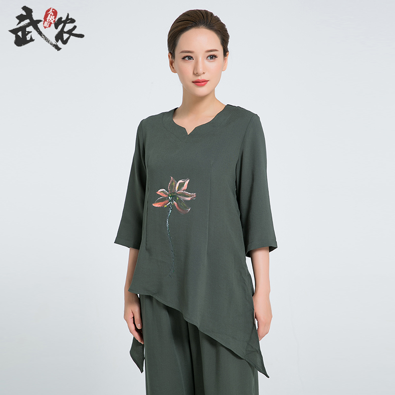 2018 Linen Kung Fu Clothes Hand Painted Tai Chi Clothing Women Uniform Include Top And Pants Wushu Uniforms supply jingdezhen hand painted red lotus kung fu tea set bone china cup eggshell fair cup 4299