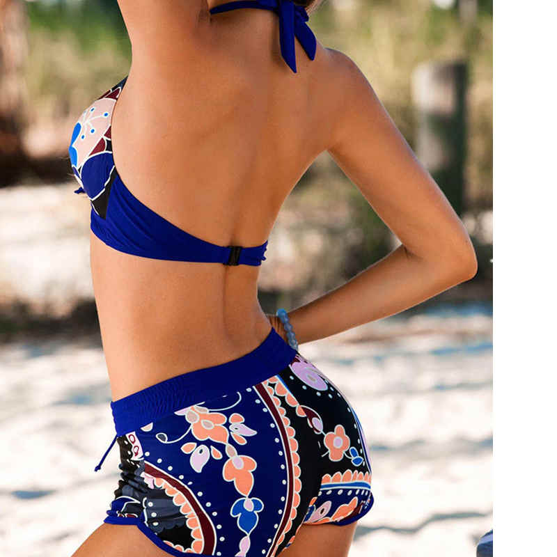 UK Women Push-up Bra Bandage Bikini Halter Summer Hot Female Flower Beachwear Swimsuit Swimwear Bathing Suit Shorts