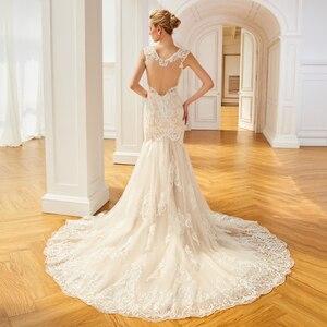 Image 3 - Dressv aplikacje elegancka suknia ślubna z dekoltem w szpic syrenka długość rękawy cap bridal outdoor & church suknie ślubne typu trąbka