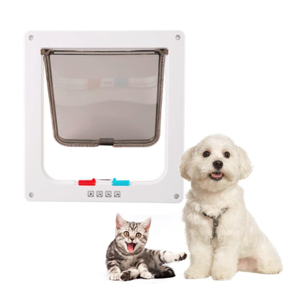 2017 Date Pet Chiens Chat Porte Petit Animal de compagnie 4 Voies En Plastique Verrouillable Porte du Coffre À Rabat Porte Blanc Couleur Porte