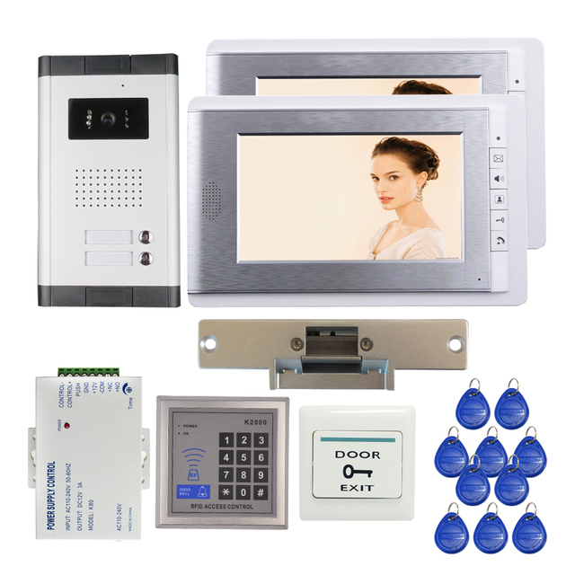 FREE SHIPPING New 7 inch Video Intercom Door Phone Kit 2 Screen + 1 Outdoor Doorbell Camera for 2 Apartment + RFID + Strike Lock