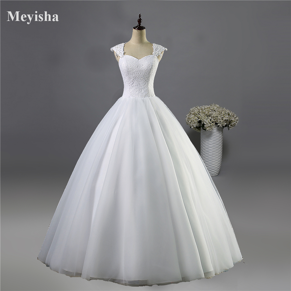 ZJ9030 Bröllopsklänning Lace Cap Sleeve Beaded En Line Brudklänningar Bröllopsklänningar Kvinnor 2016 2017 Plus Storlek 2-26W