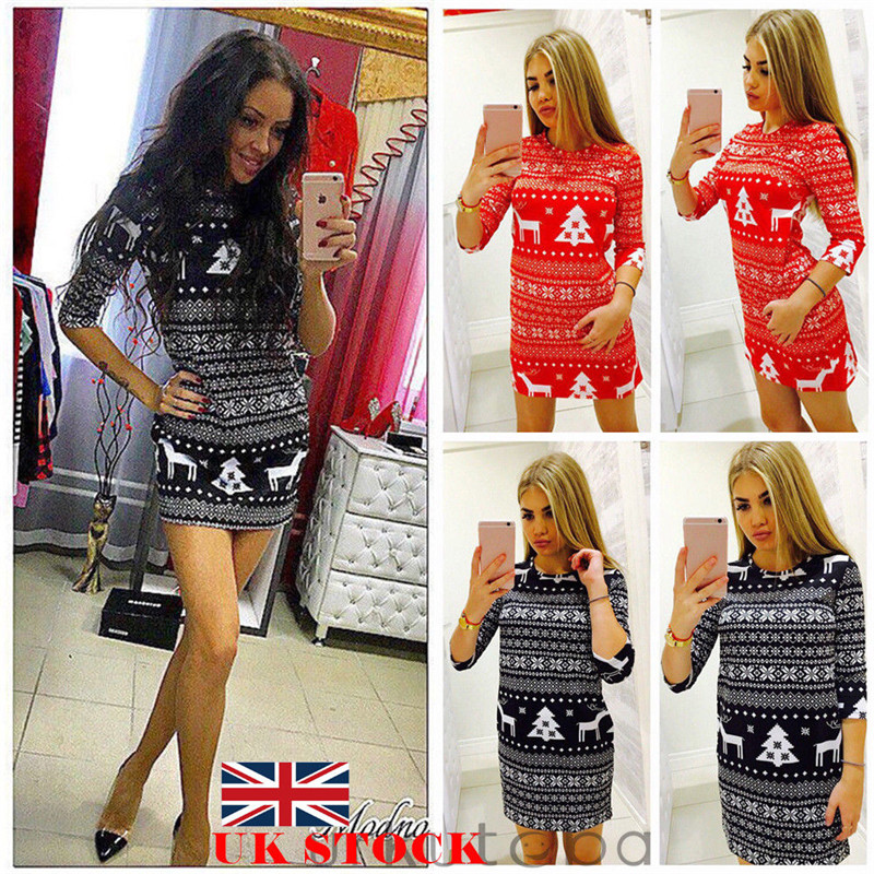 Women Autumn Winter Clothes Christmas Party Bodycon Casual Ladies Mini Dress Round Neck Long Sleeve Regular Size Pullover