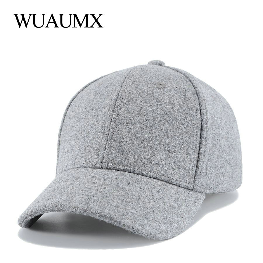 bb0f72ecd60 Detail Feedback Questions about Wuaumx Brand Unisex Fall Winter Cap For Men  Solid Baseball Caps Women Woolen Fitted Warm Bone Snap back Adjustable  Casquette ...