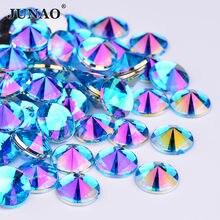 JUNAO-autocollants à Strass à dos plat bleu AB rond, Strass Rivoli, cristaux en acrylique, pour décoration des ongles, à faire soi-même, 4 5 6 10mm