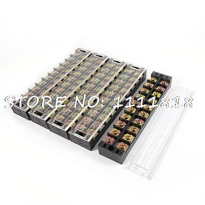 5pcs 600V 45A 10 Positions 2 Rows Barrier Terminal Wiring Board Block w Cover