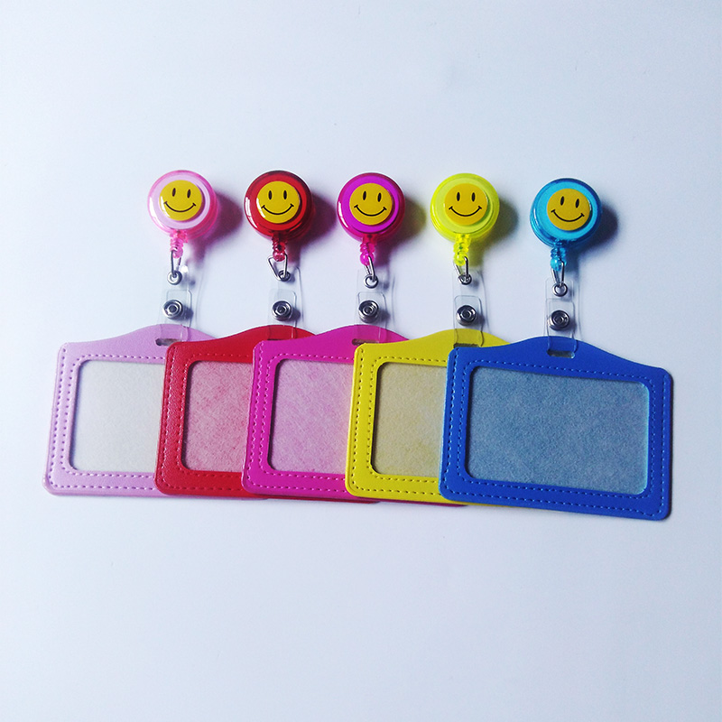 2pcs/lot Best Selling Smiling Face Multicolor Badge Reel Horizontal Student Nurse Retractable 60cm ID Name Card Badge Clip
