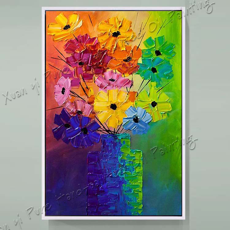 Hand Paint Modern Palette font b Knife b font Textured Flowe Abstract Oil Painting On Canvas