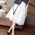 Free Shipping Casual Long Skirt Women's Spring White Skirt Black Fashion Maxi Summer Skirts Brand Pleated Skirt Elastic Waist