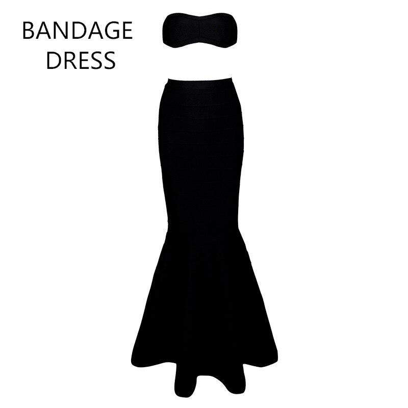 2017 Sexy Women Runway Bandage Dress Black Strapless 2 Piece Sets Vestidos Floor-Length Celebrity Evening Party Dress HL J916