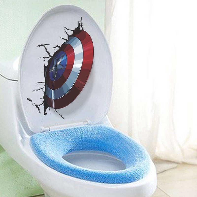 3D חי קפטן אמריקה חומת דרך קיר מדבקות אסלת קישוט נוקמי בית קיר מדבקות אמנות PVC קיר פוסטרים