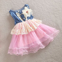 New 2014 Girls Dress Summer Baby Kids Sleeveless Denim Cotton Tutu Dress With Flower Bebe Infant