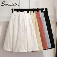 Surmiitro, Однотонная юбка миди, женская, весна-лето, повседневная, длина до колена, высокая талия, школьная юбка, красная, синяя, черная, белая, трапециевидная юбка