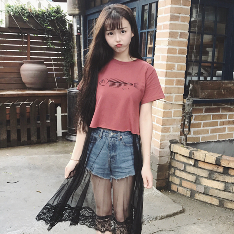 OLOEY 2018 Loose Casual Lace Splice Mesh Summer Printing Letter Fashion  Women Girl T Shirt Dress Korea Woman Dresses S723-in Dresses from Women s  Clothing ... fbacfdbb34be