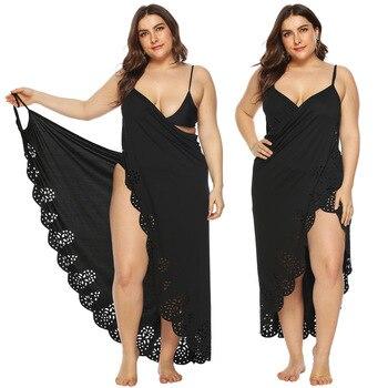 a7b000b8346f Túnica para la playa Pareo malla cubrir traje de baño para mujer vestido de  verano Kimono soporte de baño cruzado de gran tamaño damas de calabaza