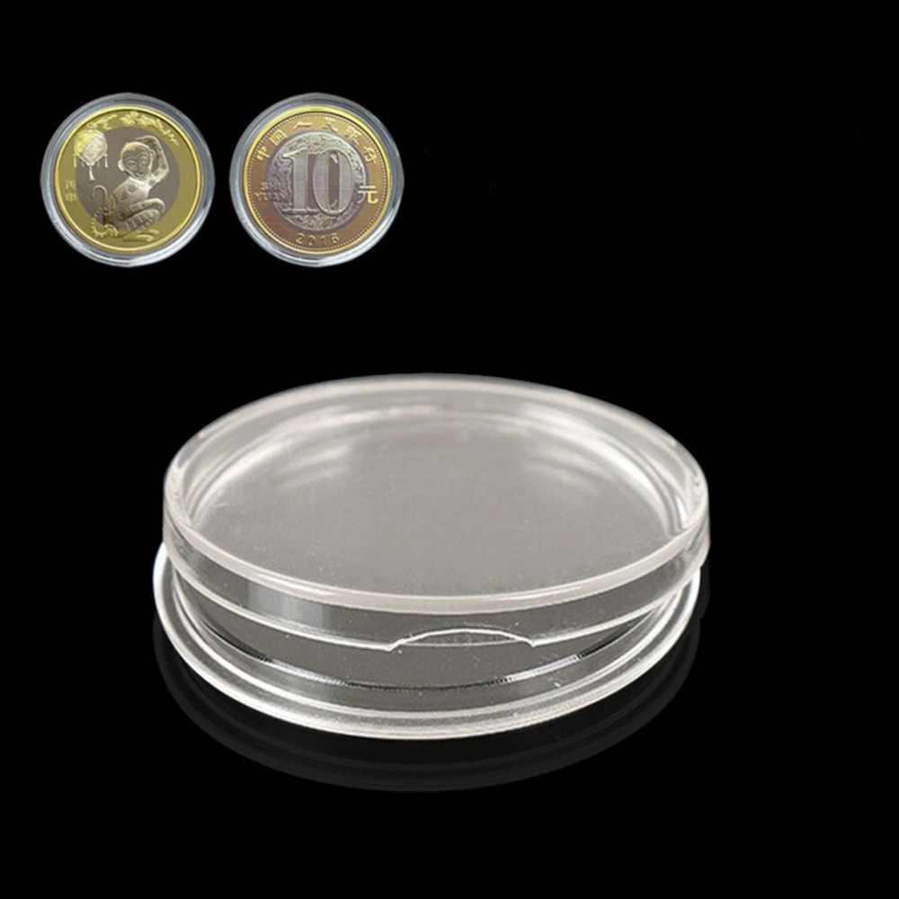 10 unids/lote 27mm cajas de anillo de almacenamiento redondo de plástico transparente monedero cápsulas fundas