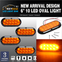KEYECU 4PCS Oval Amber Stop Turn Tail Light Rubber 6 Inch 10LED For Truck Trailer Bus