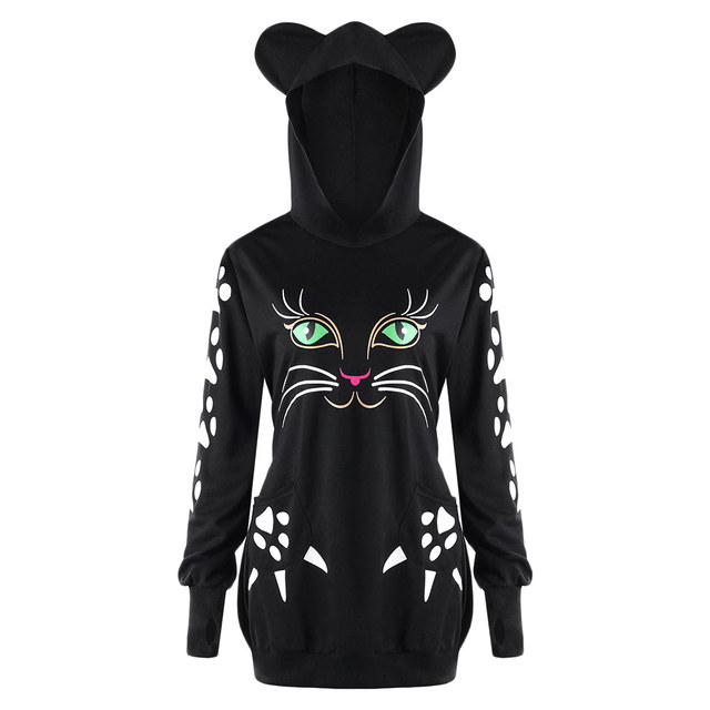 c3c2b0eb Gamiss Women Sweatshirt Kawaii Hoodie Sweatshirts Cat Hoodie With Ears  Fashion Casual Black Cute Long Pullovers Plus Size XL 5XL-in Hoodies & ...