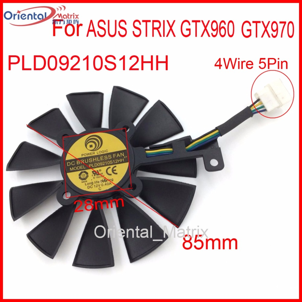 Free Shipping PLD09210S12HH 85mm 12V 0.40A 4Wire 5Pin For ASUS STRIX GTX960 GTX970 Graphics Card Cooler Cooling Fan free shipping for delta ffr1212dhe sp02 dc 12v 6 3a 120x120x38mm 4 wire car booster fan