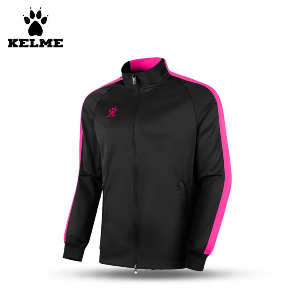 ФОТО Kelme K15ZK78 Kids Spring And Autumn Long Sleeve Stand Collar Zipper Training Knit Jackets Black Fluorescent Rose