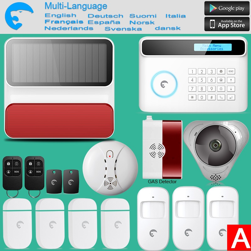 Wireless GSM Home Security Alarm System ISO Android APP Security Alarm System Wireless WIFI HD IP Camera Smoke Detector wireless smoke fire detector for wireless for touch keypad panel wifi gsm home security burglar voice alarm system
