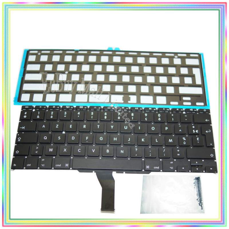"Brand new AZERTY FR French France Keyboard with Backlight & keyboard screws for Macbook Air 11.6 inch"" A1370 A1465 2011-2015 Years"""