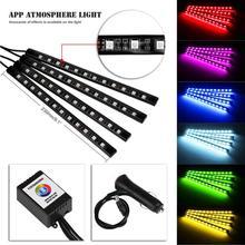 2018 hot sale New Wireless APP Music Control Car Interior RGB LED Neon Strip Light butiful beautiful Vicky