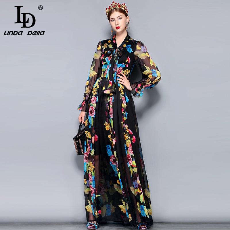 LD LINDA DELLA Runway Maxi Dress Plus Size Women's Long Sleeve Bow Collar Vintage Floral Print Chiffon Party Holiday Long Dress