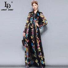 LD לינדה דלה מסלול מקסי שמלה בתוספת גודל נשים של ארוך שרוול קשת צווארון בציר פרחוני הדפסת שיפון מסיבת חג ארוך שמלה