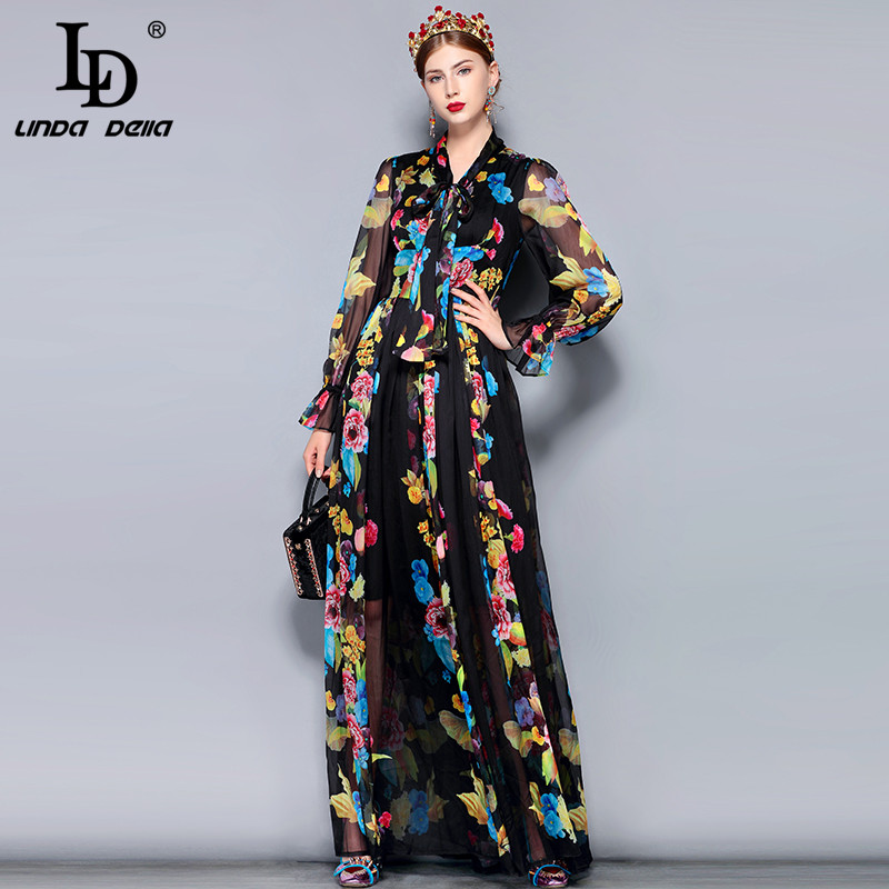 US $40.01 31% OFF|LD LINDA DELLA Runway Maxi Dress Plus size Women\'s Long  Sleeve Bow Collar Vintage Floral Print Chiffon Party Holiday Long Dress-in  ...