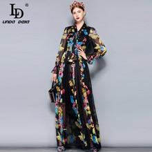 845b47d07b6d8 LD LINDA DELLA Runway Maxi Dress Plus size Women's Long Sleeve Bow Collar  Vintage
