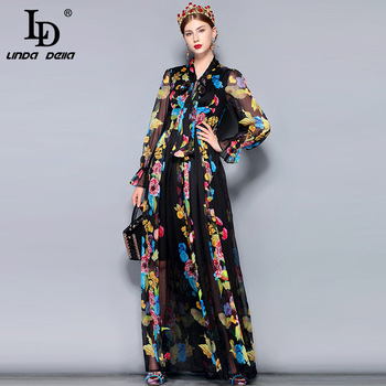 LD LINDA DELLA Runway Maxi Dress Plus size Womens Long Sleeve Bow Collar Vintage Floral Print Chiffon Party Holiday