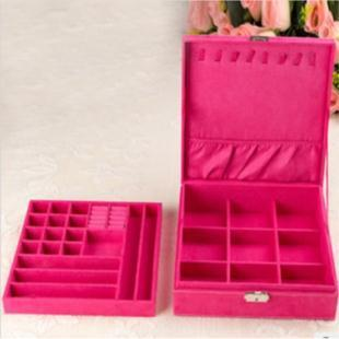 2013 new europe princess faux suede casket jewelry packaging large' size two tier storage box hotsale freeshipping