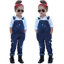 Bib Denim Jeans & Shirt 2 Piece Clothing Set