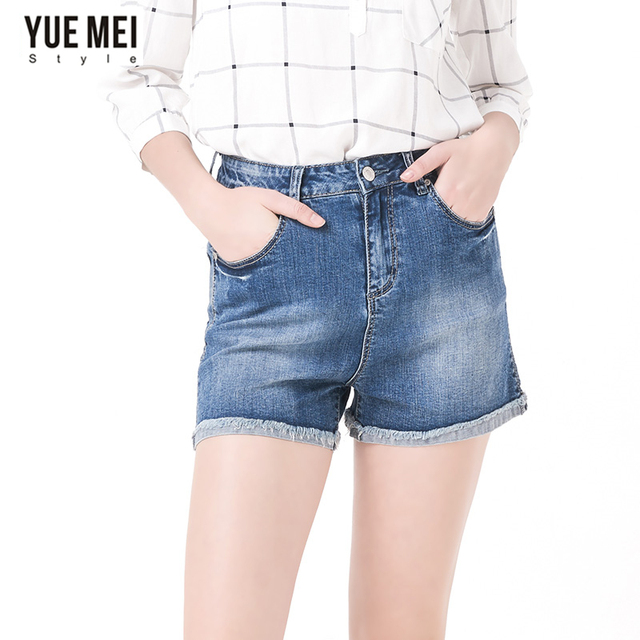 2016 denim  shorts with high waist  Low Elastic plus size shorts women  washed casual Loose Bleached Denim Shorts femme