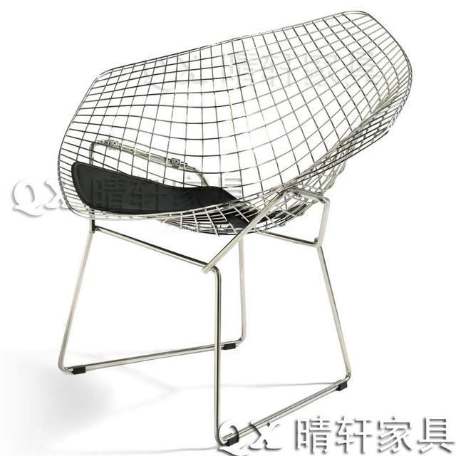Charmant British Industrial Retro Diamond Wire Mesh Chair Leisure Chair Plated  Stainless Steel Coffee Metal Chairs Outdoor