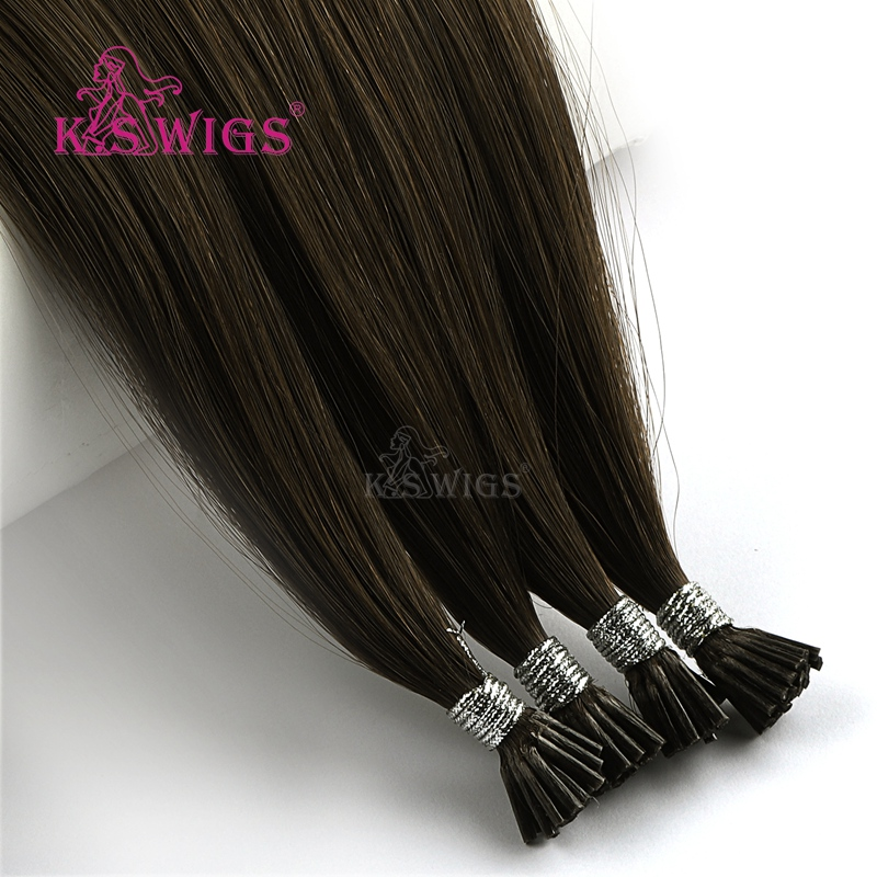 K.S WIGS Straight Remy I Tip Human Hair Extensions Double Drawn Pre bonded Fusion Hair 20'' 28'' 1g/s