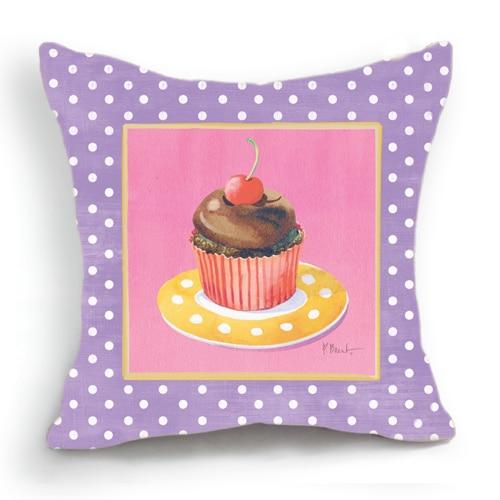 Retro Vintage Purple Pink Polka Cupcake Home Decorative Cotton Linen Pillow Case Cushion Cover ...