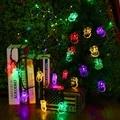 Nuevo llega Santa Claus Forma Solar Luces de la Secuencia 4.8 m 20 Led Batería Recargable Impermeable Al Aire Libre De Navidad Decoración