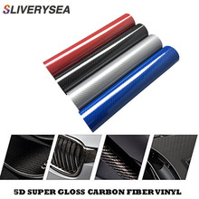 5D Car Sticker 20*152cm Glossy Carbon Fiber Vinyl Film Wrap Foil Waterproof DIY Car Decorative Sticker Black Car Styling Decal universal diy pvc carbon fiber decorative car sticker black 30 x 127cm