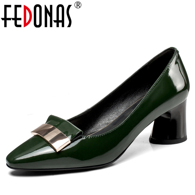 FEDONAS Fashion Women Sexy Round Toe High Heeled Pumps Brand Quality Genuine Leather Shoes Woman Metal Decoration Office Pumps women pumps high quality black metal gun color pointy fashion party shoes woman 12 cm sexy high heeled shoes jawakye