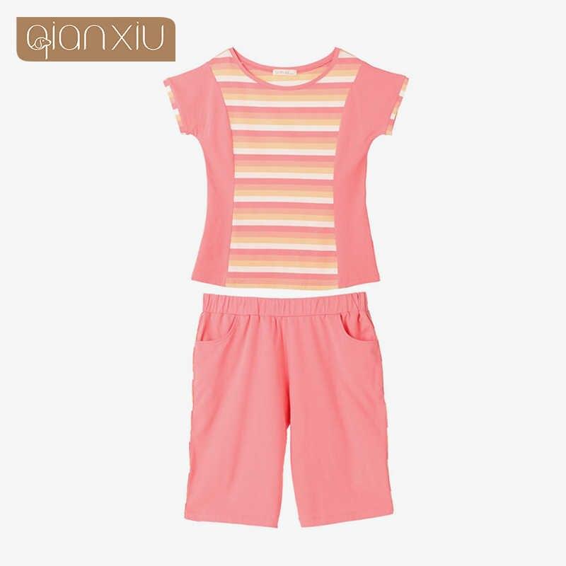 Mùa Hè 2019 Đặc Biệt đề nghị Homewear Nữ Cổ Pyjama Bộ Bé Gái Cotton Đồ Ngủ phù hợp với Phụ Nữ áo thun Nữ Tay Ngắn & Nửa quần